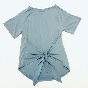 Blue-ish Grey Short Sleeved Top with Tie Waist, S
